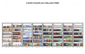 8 Door Cooler with 9 Kellogg's Items Planogram